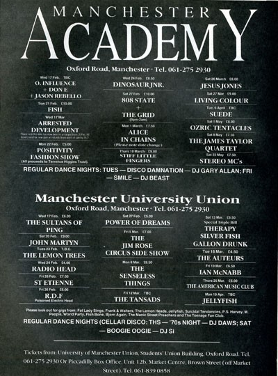 808 State and Moby/The Grid - Manchester Academy - 27th February 1993