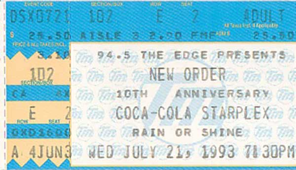 808 State, Dallas, New Order tour, 1993