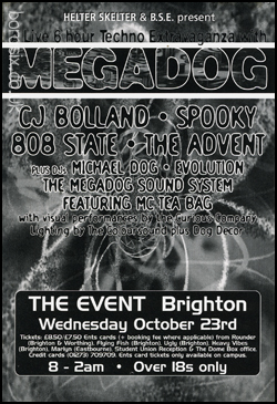 Wed 23:Oct - 808 State Live - Megadog, The Event, Brighton (with Spooky, CJ Bolland, The Advent)