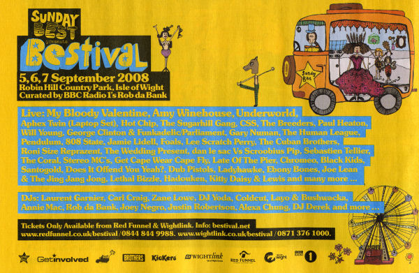 Sat:06:Sep:08 - 808 State Live - Bestival (5-7 Sep) - Isle of Wight.