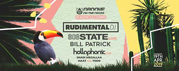 Flyer 808 State live at Groove On The Grass Dubai 19 April 2019
