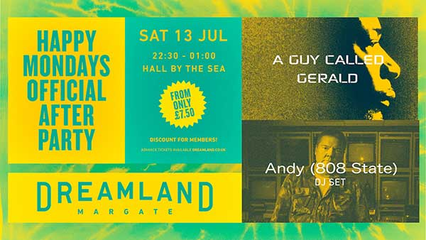 Flyer Andy Barker DJ at Dreamland Margate 13 July 2019