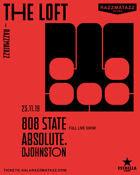 Flyer 808 State live at The Loft Barcelona 23 November 2019