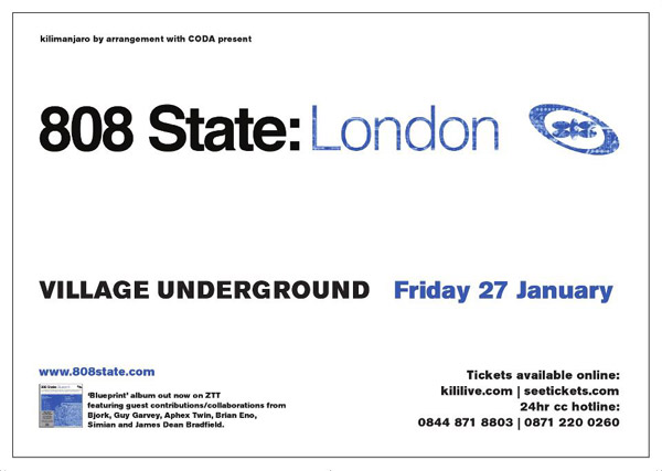 Flyer 808 State live London 27 Jan 12