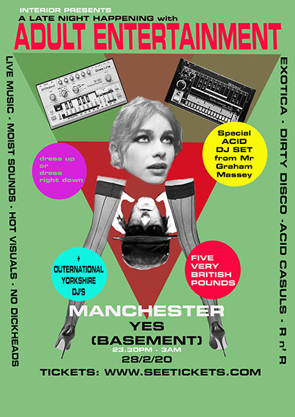 DJ flyer Graham Massey YES basement Manchester 28 Feb 2020